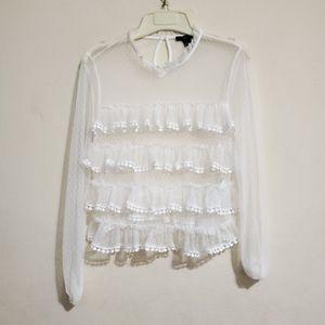 White Ruffle Front Sheer Long Sleeve Blouse Medium